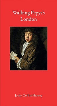 Cover of the book, red with a portrait of Pepys in the centre