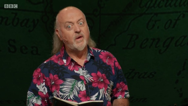 A screenshot showing Bill Bailey's head and shoulders, with his eyes wide with surprise